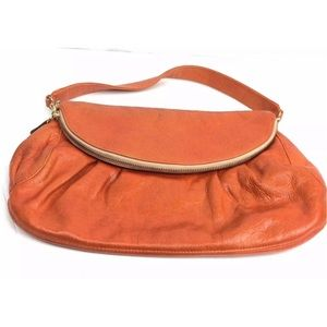 Zina Eva Orange Leather Clutch Purse Handbag